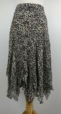 VTG 90s Sheer Animal Leopard Print Kerchief Skirt Layered BOHO Artsy Black Tan M