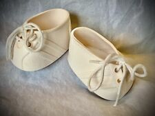 Vintage Cabbage Patch Kids CPK Shoes - White Sneakers w/ White Stripes and Laces