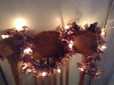 Country, primitive 10' barn red and tan garland, swag hand tied on Lights