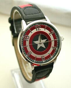 Marvel Comics Captain America Shield Dress Watch Men's New NOS Box 2 Tone Strap