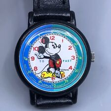 Vintage Lorus Time Teaching Mickey Mouse Watch Embossed Leather Strap