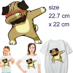 Dabbing dog Transfer film cartoon dancing dab pug dogs sunnies stocking novelty
