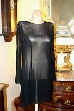 PHILOSOPHY ALBERTA DI FERRETTI SHEER SIMPLE BLACK ALINE DRESS  US / 8 /  ITALY