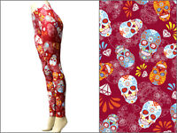 Sugar Skull Leggings Flowers Floral Dia Muertos Day Of The Dead Stretch