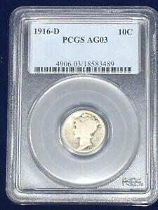 1916-D 10C Mercury Dime AG03 PCGS