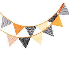 3.3M Vintage Orange Halloween Cotton Fabric Flag Bunting Halloween Party