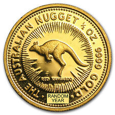Australia 1/2 oz Gold Kangaroo/Nugget BU (Random Year) - SKU #22943