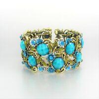 Flower Crystal Glass Metal Cuff Bracelet Rhinestone Fashion Women Ladies
