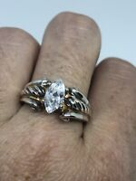 Vintage Cubic Zirconia Ring 925 Sterling Silver Size 9