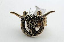 Women Antique Gold Metal Ring Rodeo Fashion Jewelry Bull Horseshoe Western Texas