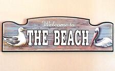 WELCOME TO THE BEACH Nautical Pelican Wall Plaque Sign Coastal Beach House Decor