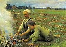 Oil painting A home-made lunch young boy and girl roast potatoes in field canvas