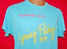 Vintage NASHVILLE TECH SPRING FLING 88 Aqua Blue 50/50 T-SHIRT Large HIPSTER Vtg