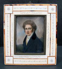 Antique c 1830 Portrait Miniature Unknown Young Gentleman Signed Daffinger yqz