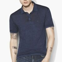 John Varvatos Star USA Men's Short Sleeve Peace Sign Polo Shirt Burnout Indigo