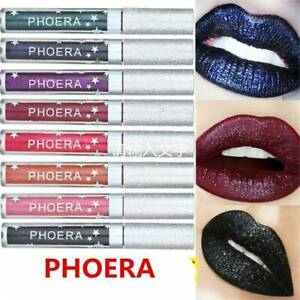 PHOERA Metallic Liquid Lipstick Waterproof Matte Lip Gloss Tint Makeup Sexy Punk