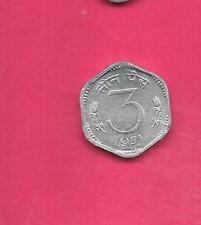 INDIA INDIAN KM14.2 1971-C UNC-UNCIRCULATED OLD  ALUMINUM 3 PAISE COIN