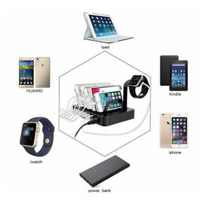 6 Port USB Station Multi Devices Hub Charging Dock For iPhone iPad Tablet iWatch