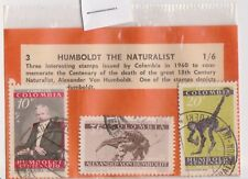 (V1-128) 1960s Columbia old stamps pack 3 stamps naturalist (DI)