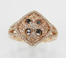 White and Black Diamond Cluster Cocktail Ring Rose Gold Size 6.75 Unique Style
