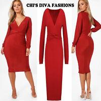 a199e3edee7 EX High Street Plus Slinky Blouson Sleeve Knot Front Midi Dress Sizes UK  16-24
