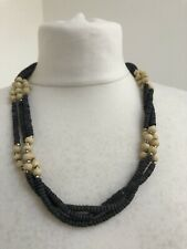 Triple Strand Grey And Cream Wood Bead Necklace Natural Barrel Clasp Ethnic Boho
