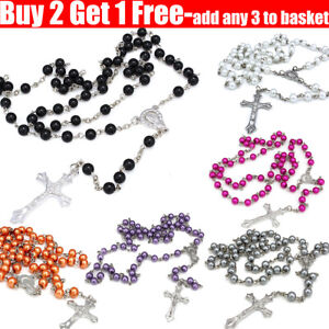 Rosary Long Glass Beads Cross Rosary Necklace in Silver Tone For Women Men Girl