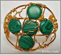 Handmade Artisan Cuff Bracelet with Green Malachite Wire Wrap Gold Tone Gorgeous