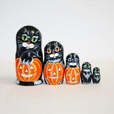 "Nesting doll Cats halloween pumpki - Completely handmade matryoshka 7"" / 18cm"