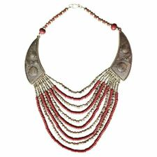 Gold Coral Bohemian Necklace Boho Art Deco Tribal Ethinic Chunky Jewellery