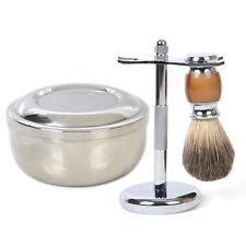 Best Pure Grey Badger Wet Shaving Brush + Razor Shave Stand + S_Steel Mug Bowl
