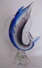 Murano Pez Espada Pez Vela Marlin arte vidrio estatuilla de pescado azul cobalto Océano