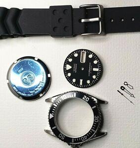 1 SET AFTERMARKET CASE, GLASS, CROWN, STRAP, DIAL & HANDS FOR 7S26-0050 / SKX023