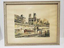 """G. LeLong Hand Colored Lithograph NOTRE DAME et la SEINE Paris 14"""" x 18"""" Framed"""
