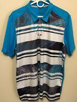 Oakley Mens Polo Shirt Blue White Regular Fit Mens Size XL Short Sleeved