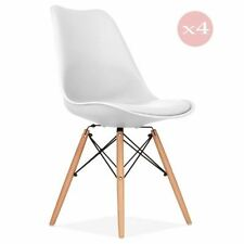 Set of 4 Dining Chairs Eames DSW Eiffel Style Cushioned Contemporary