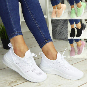Womens Running Trainers Ladies Sneakers Lace Up Jogging Gym Comfy Fashion Shoes