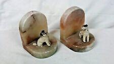 Vintage Pair Dog Bookends Composite Marble? 10cm x 8cm x 8cm