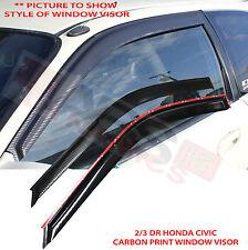 1996 2000 Honda Civic 2/3DR Carbon Print Plastic Style Window Sun/Wind Visors