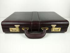 Vintage Brown Italian Leather Slim Attache Case w/ 2 combinations barrel locks