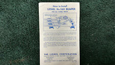 Lionel # 260 Bumper Instructions Photocopy