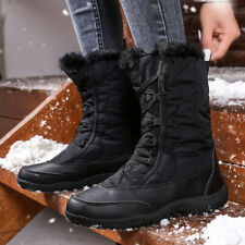 Women Ladies Winter Warm Snow Boots Fur Lined Lace Up Casual Mid Calf Shoes