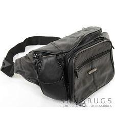 Extra Large Unisex Soft Nappa Leather Bum Bag / Waist Bag with Multiple Pockets