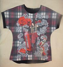 T-shirt JCP dos noir devant imprimé carreaux photo fille roses mode 14 ans  TBE