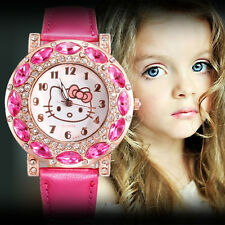 Hello Kitty Cat Crystal Watches leather strap Childlren Women Wristwatches
