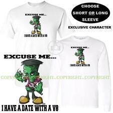 Frank Frankenstein Cartoon Monster Car Mechanic Date V8 Engine T Shirt