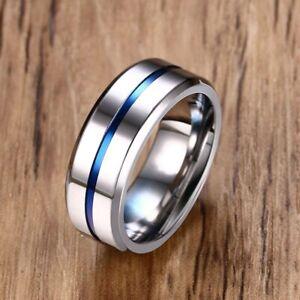Titanium Steel Thin Blue Line Polished Smooth Wedding Engagement Band Rings