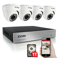 ZOSI 8CH 1080N HDMI DVR Outdoor 720P w/ Dome CCTV Security Camera System 1TB HDD