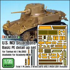 DEF. MODEL , DE35022, U.S. M3 Stuart Late Basic PE Detail up set ,1:35