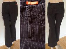 Mexx Hose Jeans Damen knöchellang Boot Cut schwarz Nadelstreifen XS 36 Top